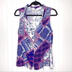 Skies Are Blue Patchwork Tank Top Pink & Blue NWOT